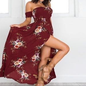 Romantic Floral Off the Shoulder Maxi Dress